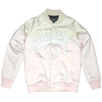Classy A.F. Satin Bomber Jacket Pink and Beige