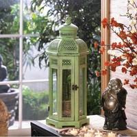 Large Exotic Green Metal Candle Lantern Accent