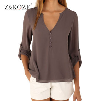 Z&KOZE New Autumn Fashion Women deep v neck button long sleeve ladies tops chiffon shirts solid elegant Top casual blouse