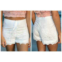 Barrier Island White Crochet High Waist Drawstring Shorts