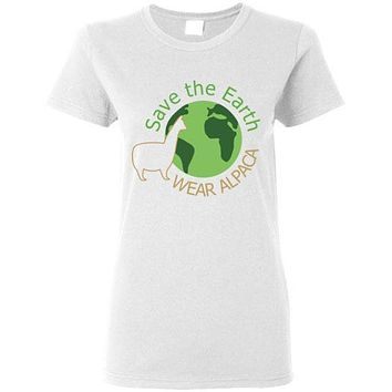 t-shirt: Save the Earth Wear Alpaca - Ladies Cut