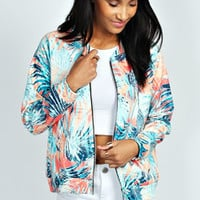 Emma Tropical Palm Print Bomber Jacket