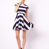 Club L Stripe Skater Dress With Belt at asos.com