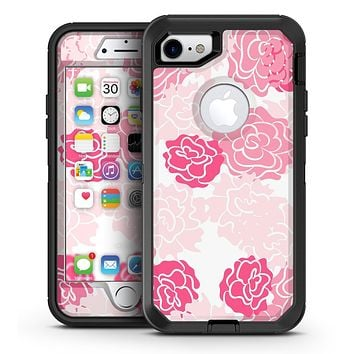 Pale Pink and Red Cartoon Roses - iPhone 7 or 7 Plus OtterBox Defender Case Skin Decal Kit