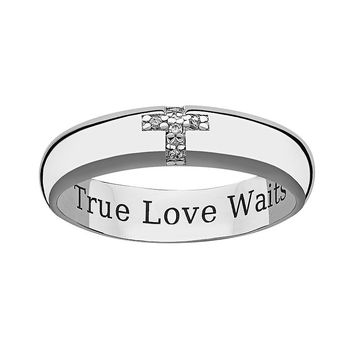 Sweet Sentiments Sterling Silver Diamond Accent Cross Purity Ring (Grey)
