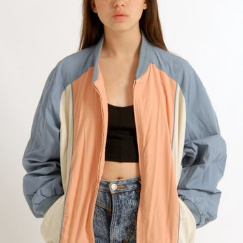 Vintage Unisex 80s 90s Pastel Grunge Baseball Urban Bomber Jacket Indie Hipster Pink Blue Cream Colour Block Oversized S M L