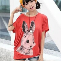 Kawaii Little Rabbit Loose Batwing Sleeve T-shirt - Black, White or Orange from Tobi's Finds
