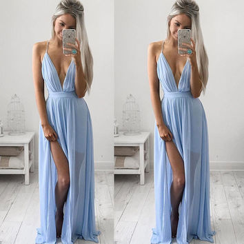 Light Blue V-Neck Sleeveless Ruffled Maxi Dress