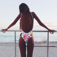 Floral Printed Backless Swimsuit