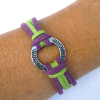 Friendship Bracelet, Inspirational Bracelet, Imagine Charm, Arm Candy, Purple, Green
