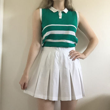 white pleated 90s vintage tennis skirt from area 51 area 51
