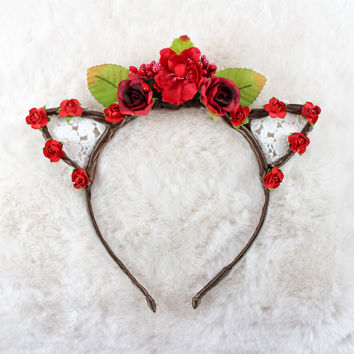 Full Floral Crown with Lace Cat Ears Headband