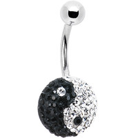 Black Ying Yang Austrian Crystal Evolution Belly Ring | Body Candy Body Jewelry