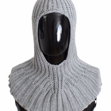 Men's Gray Cashmere Knitted Crochet Hood