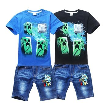 Cotton Minecraft Cartoon Children's clothing Casual Our World Boys Girls  At Kids T Shirt 2pcs Set Our world