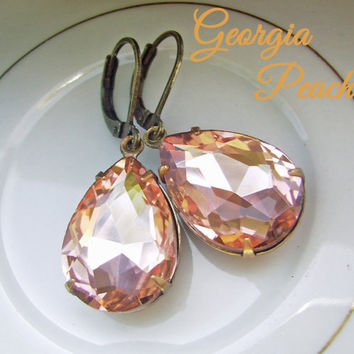 Peach Swarovski Crystal Earrings, Estate Style Earrings, Blush, Old Hollywood Glam, Vintage inspired, teardrop pear earrings - Georgia Peach