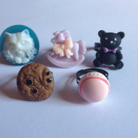 Lot of Five 5x Fairy Kei Kawaii Ring Set Adjustable S M L Small Medium Large Rings Sweets Pastel Goth Sweet Lolita Macaroon Cat Cameo Cookie