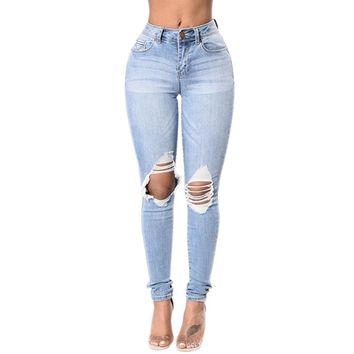 Women's Light Blue Distressed Knee Skinny Jeans