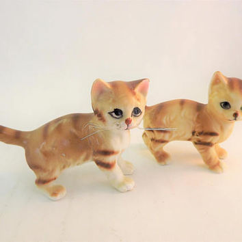 Tiger Striped Cat Figurine, Orange Tabby Cat, Real Plastic Whisker Cat, Vintage Miniature Glass Porcelain Cats, Small Blue Eye Ceramic Cat