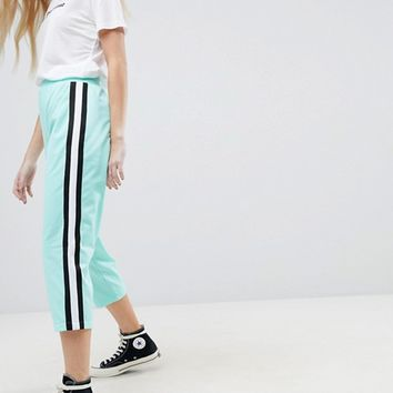 ASOS Cropped Track Pant Trousers with Side Tape at asos.com
