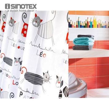 Shower Curtain Polyester Cloth Waterproof Moldproof Cartoon Tape Gutters Bathroom Curtain Cat 180cm*180cm/71*71''  With 12 Hooks