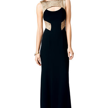 Theia Graphic Gold Gown