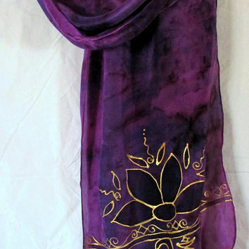 "silk scarf ""Ohm"" lotus scarf ,yoga wear, yoga scarf ,prayer scarf, new age scarf, metaphysical wear,"