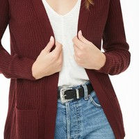 Longline Ribbed Open-Front Cardigan