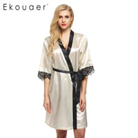 Ekouaer Women's Kimono Robe Knee Length Bathrobe Sexy Lingerie Sleepwear Short Satin Lace Nightwear Bridesmaid Robes XS-XL