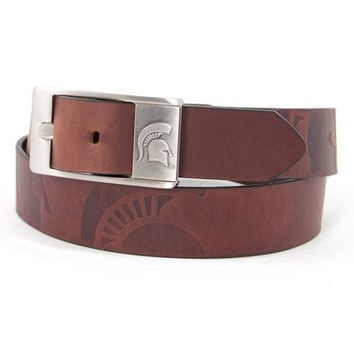 Michigan State Spartans NCAA Men's Embossed Leather Belt (Size 40)