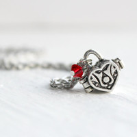 Simple Silver Heart Box Locket Pendant with Red Swarovski Crystal - Dainty Romantic Necklace - Handmade Jewelry - Ready to Ship