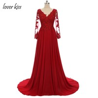 Lover Kiss Vestido De Festa Gorgeous V Neck Red Long Sleeve Evening Dress Plus Lace Sequined Moroccan Kaftan Chiffon Formal Gown