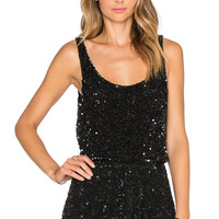 MLV Sid Sequin Crop Top in Black