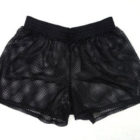 Super 90's Black Mesh Short-Shorts // Made by Koala in the 1990's // Sexy Sporty Style // Size Large