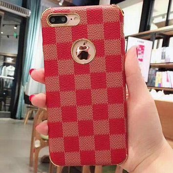 LV leather plaid pattern iPhone7plus phone shell iPhone8X men and women tide 6S
