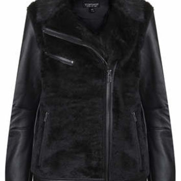 Faux Fur Bonded Biker Jacket - Black