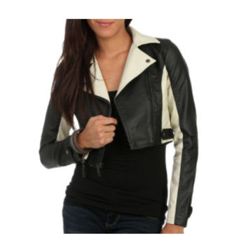 Color Block Moto Faux Leather Jacket (Wet seal)