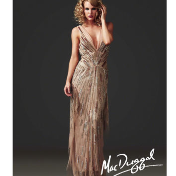 Mac Duggal 2014 Couture - Nude Beaded V-Neck Gatsby Inspired Dress