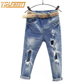 New Spring Kids Girls Hole Jeans size 567t