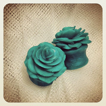"Faux Jade Rosebud Plugs 7/16"" to 5/8"""