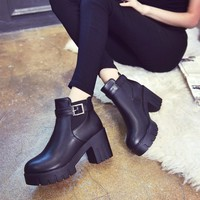 Dr. Martens Winter With Heel Round-toe England Style Shoes [11144747399]