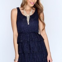 Navy Sleeveless Floral Lace Casual Dress