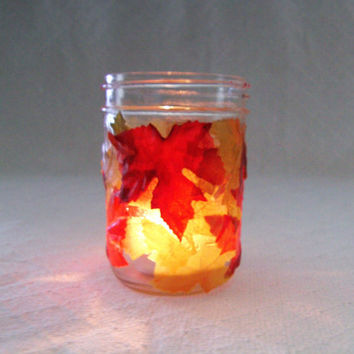 Fall Mason jar, autumn Mason jar, leaf Mason jar, decorative Mason jar, fall candle holder, fall decor, autumn decor, red Mason jar