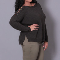 Plus Size Ribbed Lace Up Sweater - Charcoal