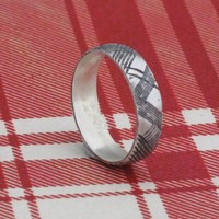thin PLAID sterling silver ring