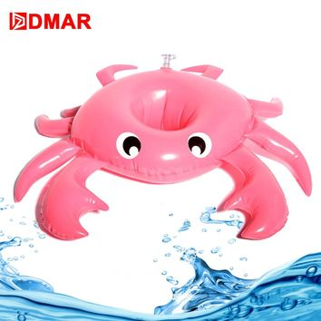 DMAR 2pcs Inflatable Crab Mini Pool Float Toys Drink Holder Cup Holder Swimming Ring Beach Water Sea Kid Adult Flamingo Unicorn