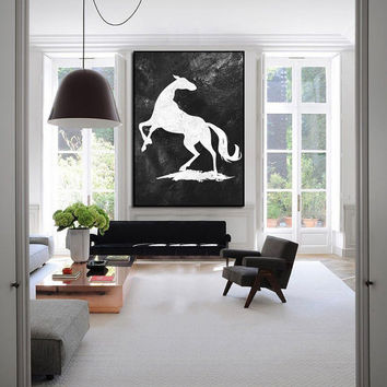 extra large wall art, large abstract painting canvas, abstract canvas art, black and white painting canvas art,  modern wall art horse