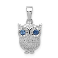 Sterling Silver W/blue Synthetic Sapphire Owl Pendant