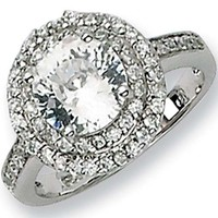 Sterling Silver Cubic Zirconia Majestic Round Ring by Cheryl M