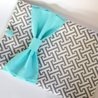 "Macbook Pro 15 Sleeve MAC Macbook 15"" inch Laptop Computer Case Cover Grey & White Geometric Pattern with Aqua Bow"